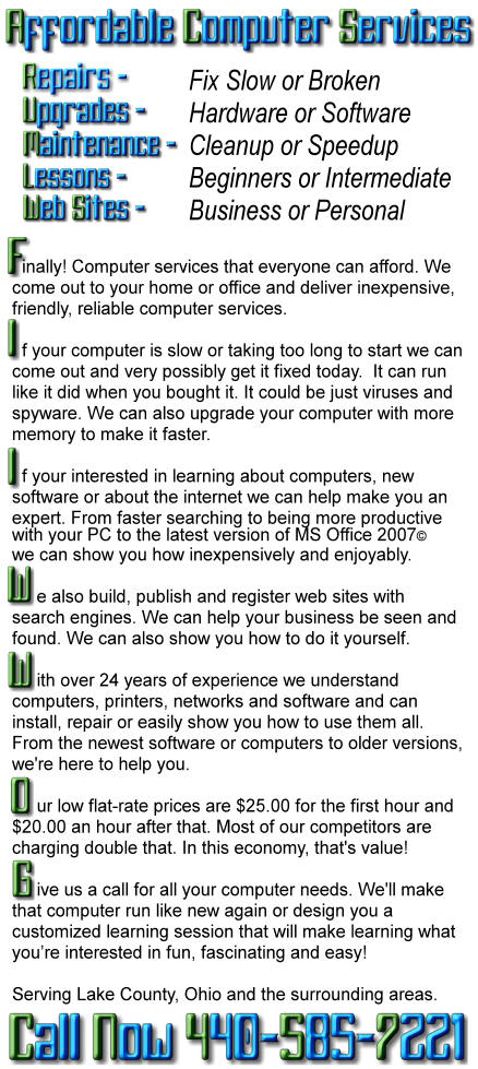 Computer Repairs and Lessons